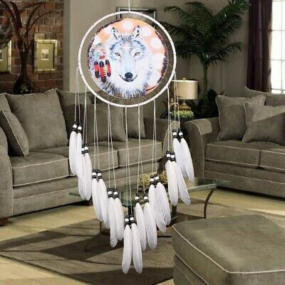 Large Handmade Dream Catcher Wolf With Feathers Car Home Hanging Decor Craft US