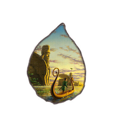 Color Printing painting Agate Gemstone Pendant Necklace H1908 0080