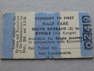 SOUTH BRISBANE to KYOGLE ECONOMY to FIRST TICKET  QUEENSLAND RAILWAYS NSWGR