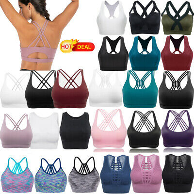 AU Women's Yoga Bra Cross Back Strappy Pad Sport Bra Workout Racerback Crop Tops
