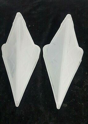 Pair Of Art Deco Style Frosted Glass Slip Shades, Wall Sconces Or Ceiling Light