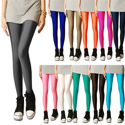 Women Sexy Shiny Glossy Elastic Leggings Fluorescent Stretchy Pants Trousers