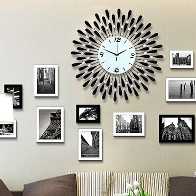 30Cm Round Wall Clock Diamante Beaded Jeweled Bling Sunburst Decor Black Metal