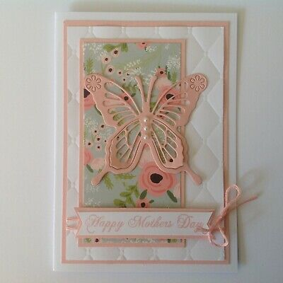 Handmade Mother's Day card: Pink butterfly.