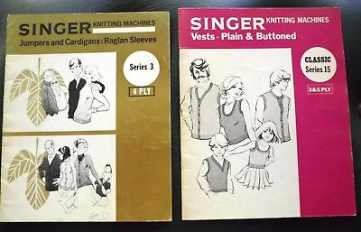 """2 """"Singer"""" Knitting Machines Classic Pattern Magazines  - V.g.cond  I Will Post"""