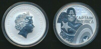 Tuvalu 2019 $1 1oz 9999 Silver Coin Captain America housed in its Capsule Only