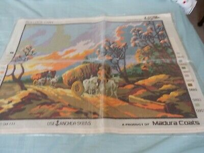 """Vintage Canvas 'Bullock Cart' 23""""x 16"""" NO THREADS NEW (Sealed) by Anchor/Coats"""