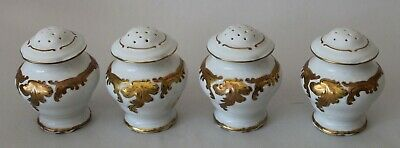 Four! ANTIQUE French Porcelain SALT & PEPPER SHAKERS Gold & White