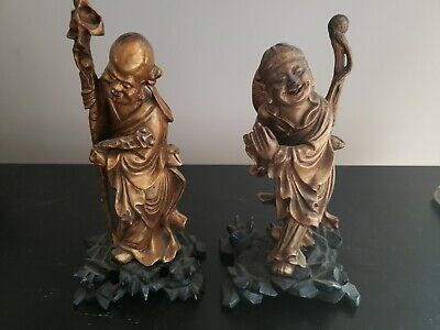 2 Chinese Carved Wood Wise Men Figurines Gold Colored