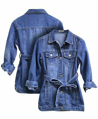 Girls Denim Jacket Blue Jean Jacket Longline Age 5 7 8 9 10 12 14 4 Years