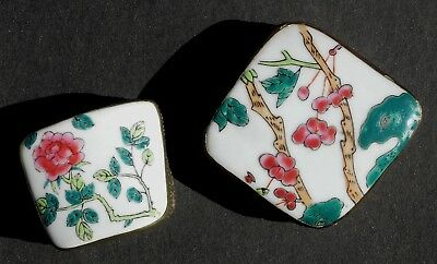 """Two Enamel Chinese """"Pillow Boxes""""  - A Small & Large Matching Pair!!"""