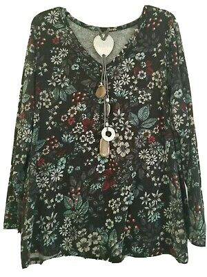 Lane Bryant Plus Size 18/20 Boho Floral Knit Top V-Neck Tunic Long Sleeve