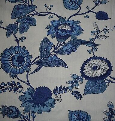 Antique Vintage French Indienne Vining Floral Cotton Linen Fabric ~ Indigo Blue