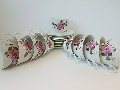 9x Vintage Pink Rose Made in China Cups with Saucers Tea set