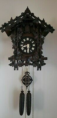 ANTIQUE GERMAN  BLACK FOREST RARE WOODEN MOVEMENT CUCKOO CLOCK 1800's