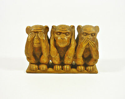 "Three Monkeys Sitting  5.5"", Vintage Artist Signed Woddenware Carved Figurine !"