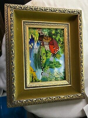 Artist Painting Signed KD Stone Enamel On Copper Certificate Authenticity Oil