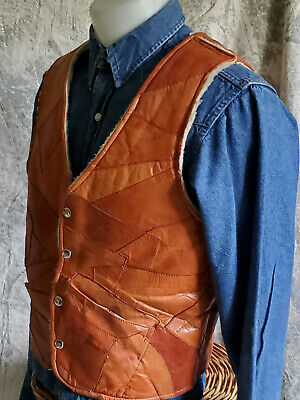 S 70's 80's Vtg Cowhide PATCHw Leather Vest Western Motorcycle Men Ride Cowboy