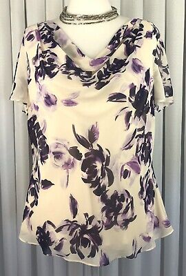 Jacques Vert Size 20 Ladies Occasion Top Purple Cream Floral Cowl Overlay Lined