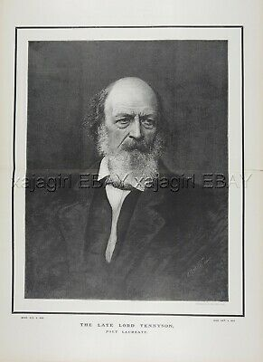 POET Lord Alfred Tennyson, Huge Double-Folio 1890s Antique Print