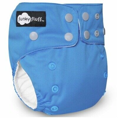 New! Funky Fluff - One Size Bamboo Cloth Diaper - Deja Blue