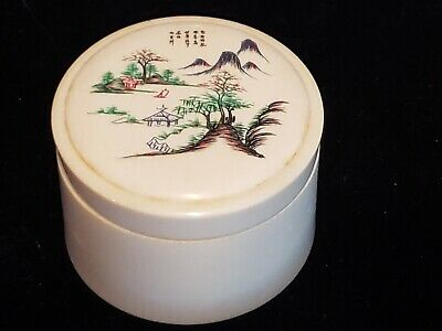 Finely Carved 19th Century Chinese Covered  PILL Box SNUFF MOUNT FUJI SIGNED