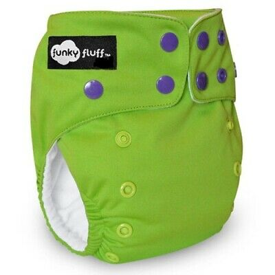 New! Funky Fluff - One Size Bamboo Cloth Diaper - Walk the Lime