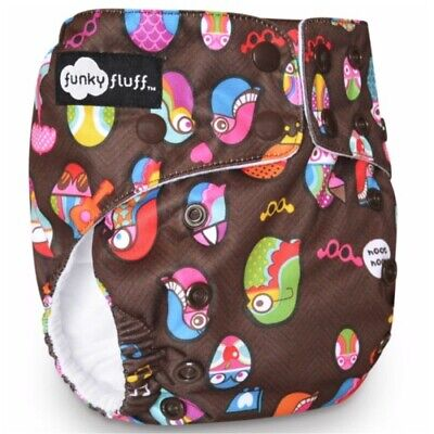 New! Funky Fluff - One Size Bamboo Cloth Diaper - Hooty Booty - Owl Print