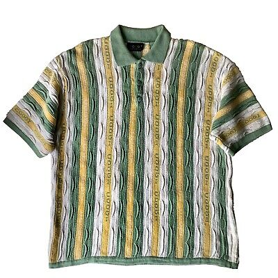 Authentic Coogi Short Sleeve Polo Shirt men's XL in Green White & Yellow