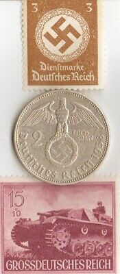 """*Two RARE *WW2 *german STAMPS(""""TIGER"""" - tank)+SILVER EAGLE(.625%) coin"""