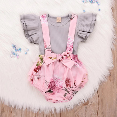 2019 Toddler Infant Baby Girl clothes Sleeveless Ruffle Tops Overall Floral Shor
