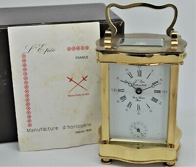 L'Epee brass Carriage Alarm clock 8-day wind