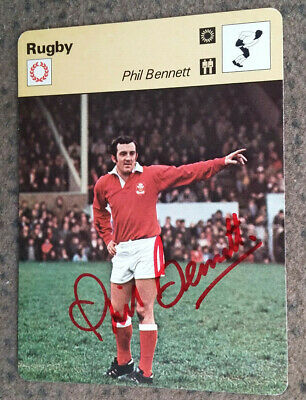 PHIL BENNETT signed rugby promo card - WALES RUGBY UNION - Genuine Autograph