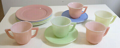 Fire King-Style Pastel Colors Coffee Cups & Creamer - Mid-Century Modern Vintage