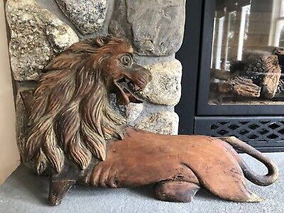 Vintage Hand Carved Wooden Lion