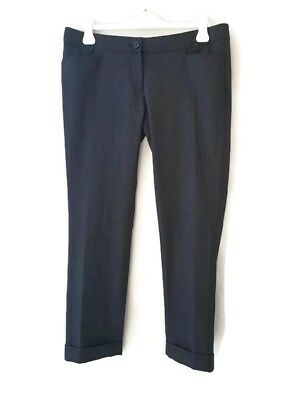 Dolce & Gabbana D&G straight leg stripped cashmere wool folded grey suit pants