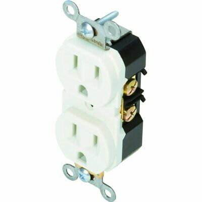 Maintenance Warehouse 15A White Commercial Grade Duplex Receptacle, Pack Of 10
