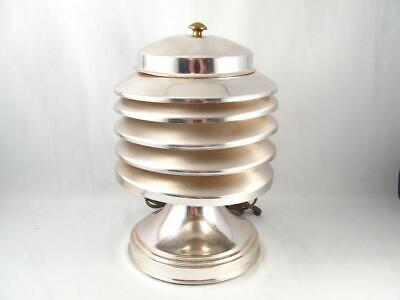 Vintage Coulter Canada Louvered Chrome Machine Age Art Deco Table Lamp