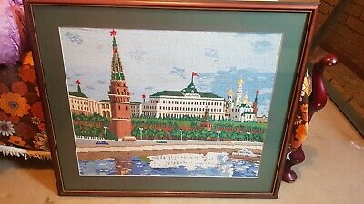 Needlework embroidery Large picture Russian scene Church Kremlin Home decor Gift