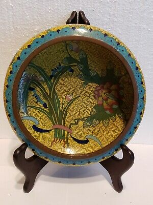 "Old Fine Chinese Cloisonné Bronze Shallow 8"" Bowl CHRYSANTHEMUM  BAT BOARDER"
