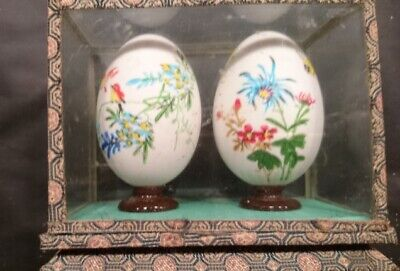 Chinese Eggs, Two Decorative Chinese Hand Painted Eggs in glass Case