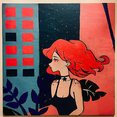 City girl Neon Impasse Hand painted Acrylics on 20/20cm canvas