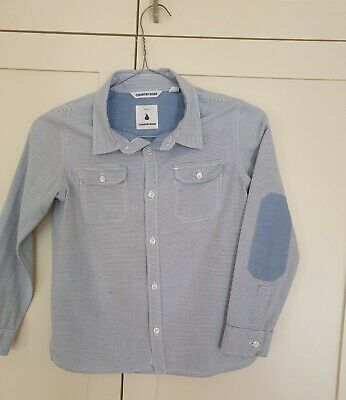 COUNTRY ROAD boys long sleeved shirt, pale blue/white, size 6