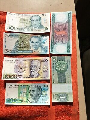 Bank Notes From Brasil  X6 Unc nice lot.