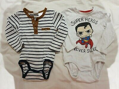 2 X H&M Baby Long Sleeve Suits Size 6-9 Months