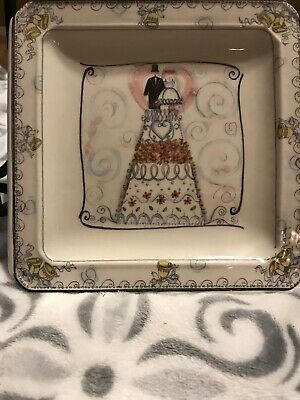 """Beautiful """"The Wedding"""" Plate - Hand Painted Made in Italy 6 3/4"""" Square EUC"""