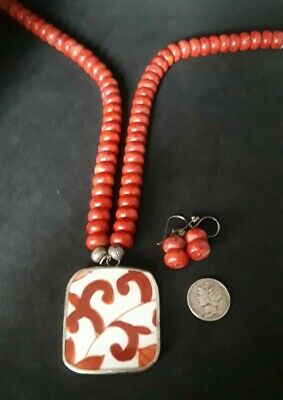Antique Chinese Porcelain Shard Pendant w/RED CORAL Necklace & Earrings ~SS 925!