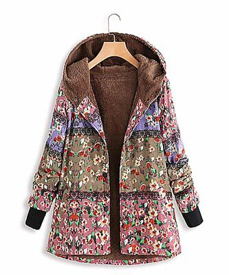 Jacket Green&Pink Floral Color-Block Hooded Fleece-Lined Size XL