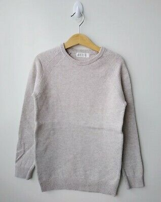 BOYS H&M Beige/Oatmeal Thick Knit Cotton Jumper - Size 7-8