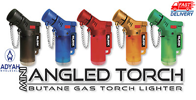 2 Pack 45 Degree Angle Jet Flame Blink Butane Torch Lighter Refillable Windproof